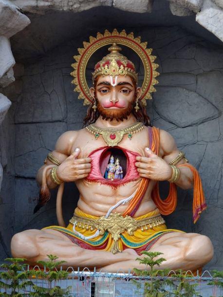 Hanuman, montrant Rama et Sita